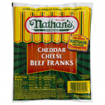 Nathan's Cheddar Cheese Beef Franks, 11 oz