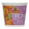 Our Family Original Lowfat Peach Yogurt. 6 oz