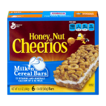 Honey Nut Cheerios Milk'n Cereal Bars, 1.4 oz 6 ct