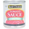 Best Choice No Salt Added Tomato Sauce, 8 oz